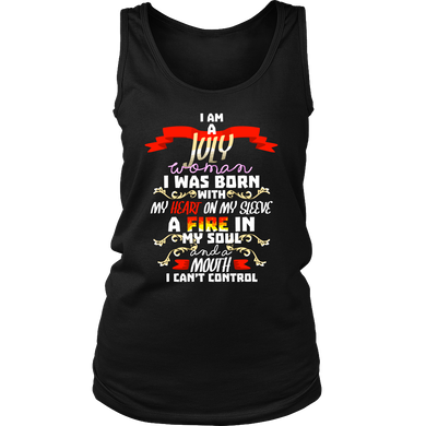 Born in July With Fire in My Soul Birthday B-day Gift Women's Tank Top Shirt
