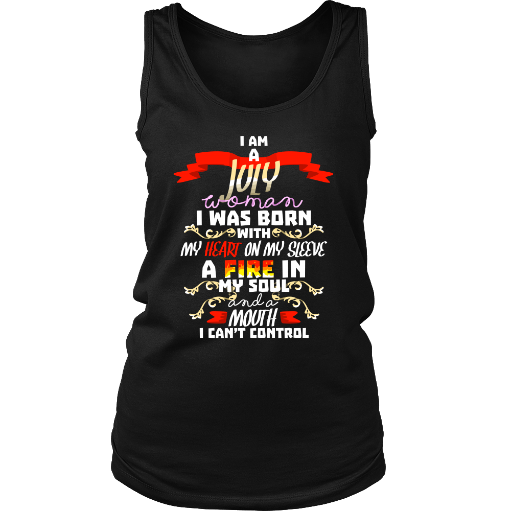 944ecf623 Born in July With Fire in My Soul Birthday B-day Gift Women's Tank Top –  Lifehiker Designs
