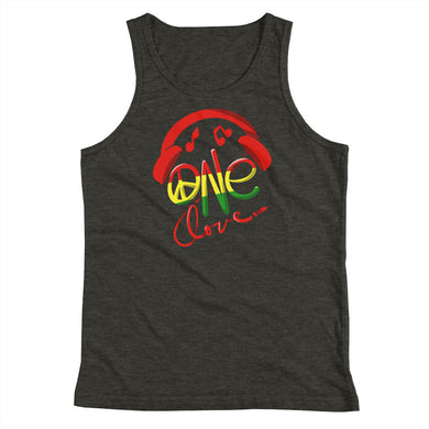 Youth Tank Top - One Love Design with Headphones, Jamaica Theme