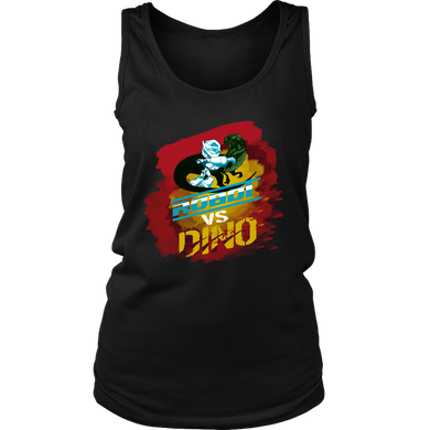 Robot VS Dinosaur Fighting Cartoon Dino Women's Tank