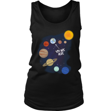 Sci Fi Solar System Galaxy Earth Nerdy Geek Women's Tank