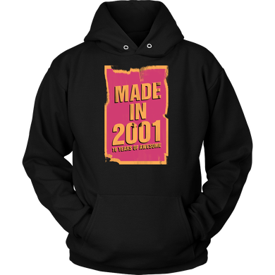 Made in 2001 16th Birthday Present, 16 Years Old Funny Hoodie