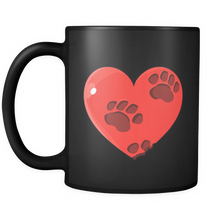 Valentines Day Mugs - Heart Design with pet paws on Black Ceramic Mug 11oz