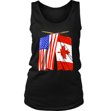 Canada America US Flag Trendy Women's Tank Top Shirt