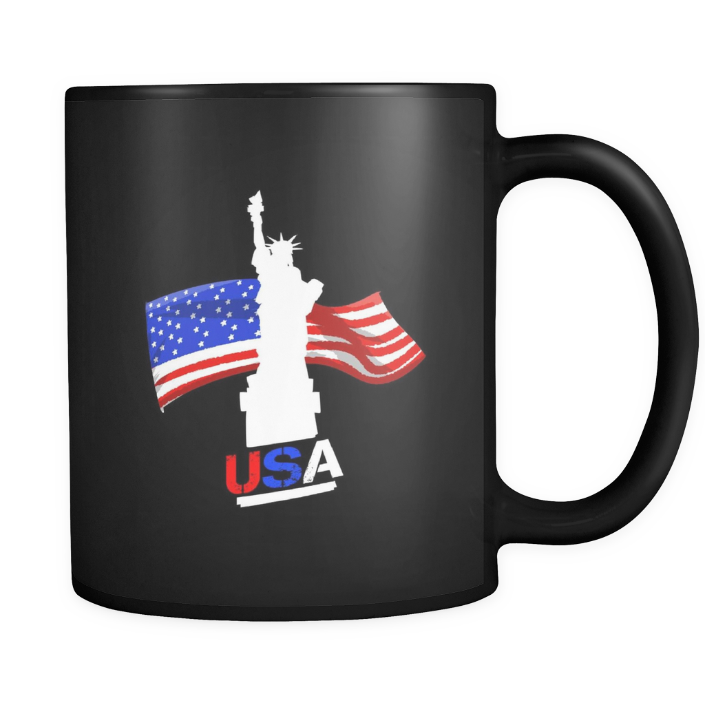 Favorite American USA Flag New York Novelty Black Ceramic 11oz Mug