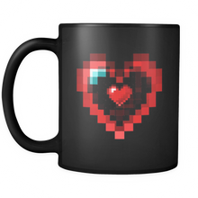 Valentines Day Mugs - Graphic Heart Design on Black Ceramic Mug 11oz