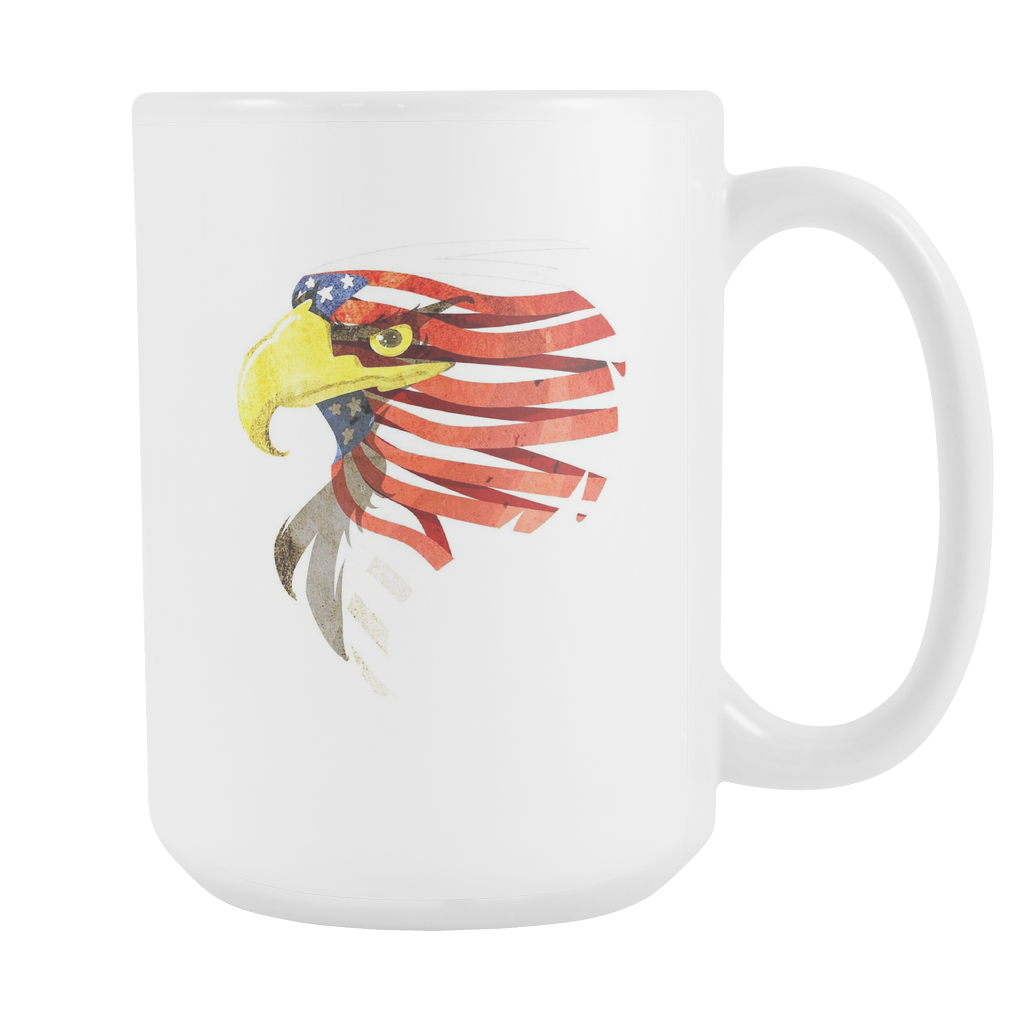 American Eagle Patriotic Independence Day White 15oz Mug