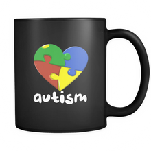 Love Heart Autism Love, Understand and Accept Black Ceramic 11oz Mug