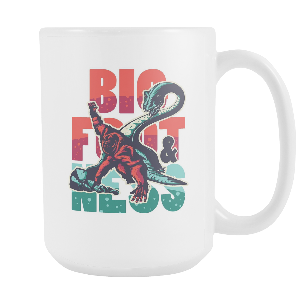 BigFoot and Loch Ness Monster Myth Funny White 15oz Mug