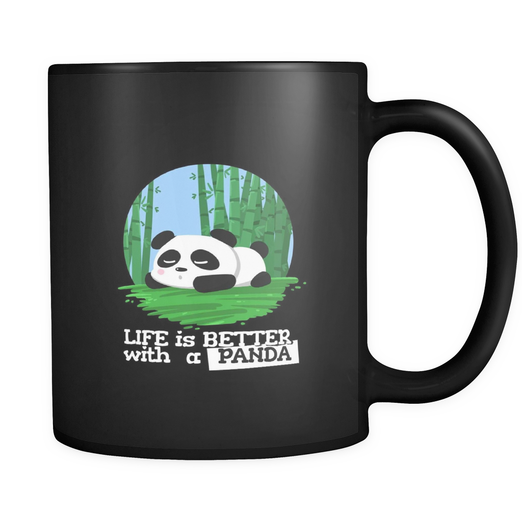 Life Is Better With A Panda Cute Animal Love Bear Black Mug