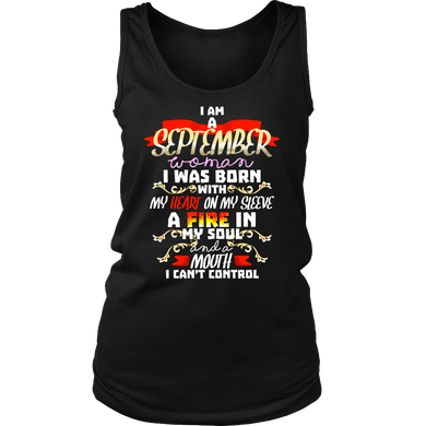 Born in September With Fire in My Soul Birthday Gift Women's Tank Top Shirt