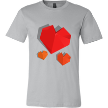 Valentines Day T-shirts - 3D Origami Heart Design on Cotton T-shirt