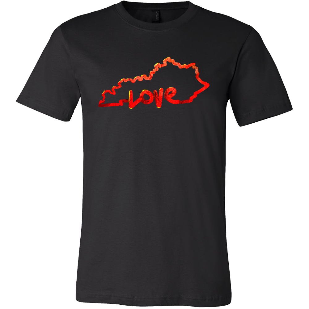 Love Kentucky State Flag Map Outline Souvenir Gift T-shirt