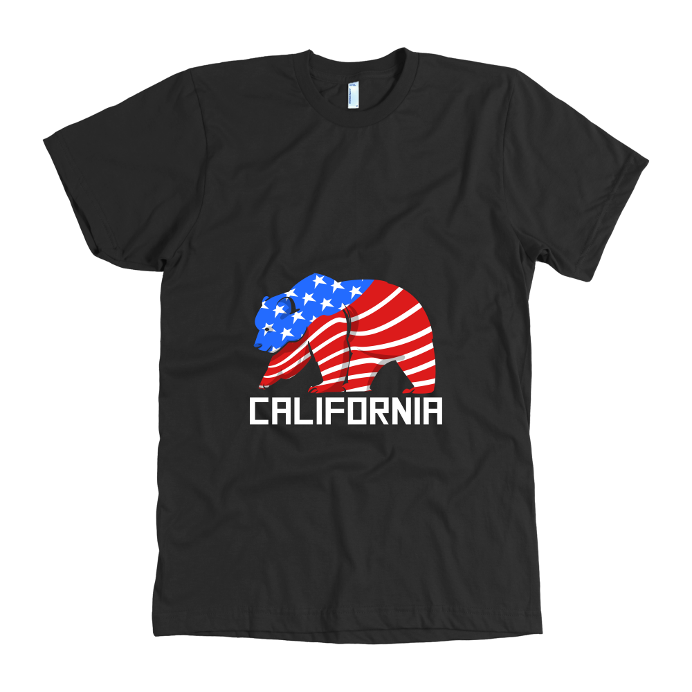 Grizzly Animal Bear 'California' Stamped on California Tshirt