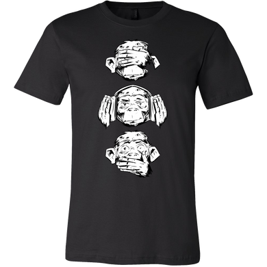 Three Wise Monkeys Design Monkey Face Tshirt