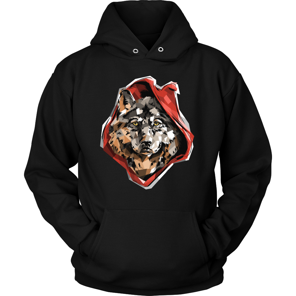 Cool Graphic Red Ridin' Wolf Print Hoodie