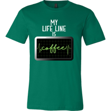 Funny Tshirts - My Life Line is Coffee quote design tshirt