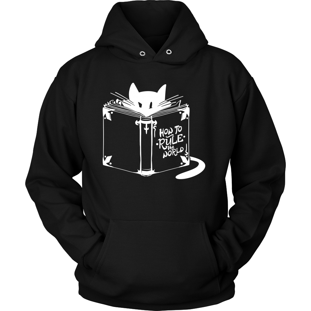 Cool Cat Hoodie - 'How To Rule The World' Quote and Cat design on Hoodie