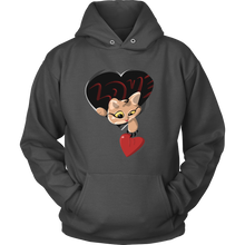 Graphic Heart and Cat Valentines Day Hoodie