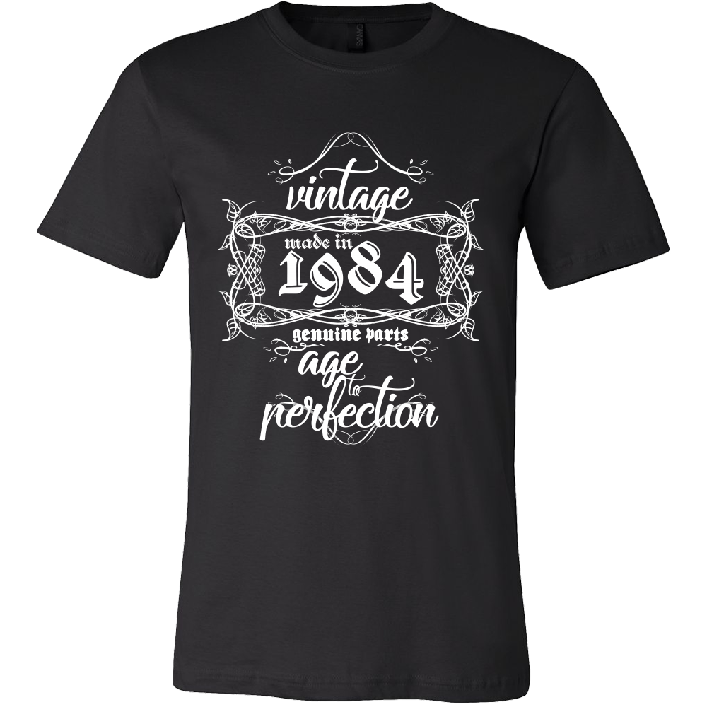 Vintage, Made in 1984, Genuine Parts, Age to Perfection Vintage Print Tshirts
