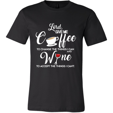 Drinking Tshirts - Give me coffee and wine funny quote Tshirt