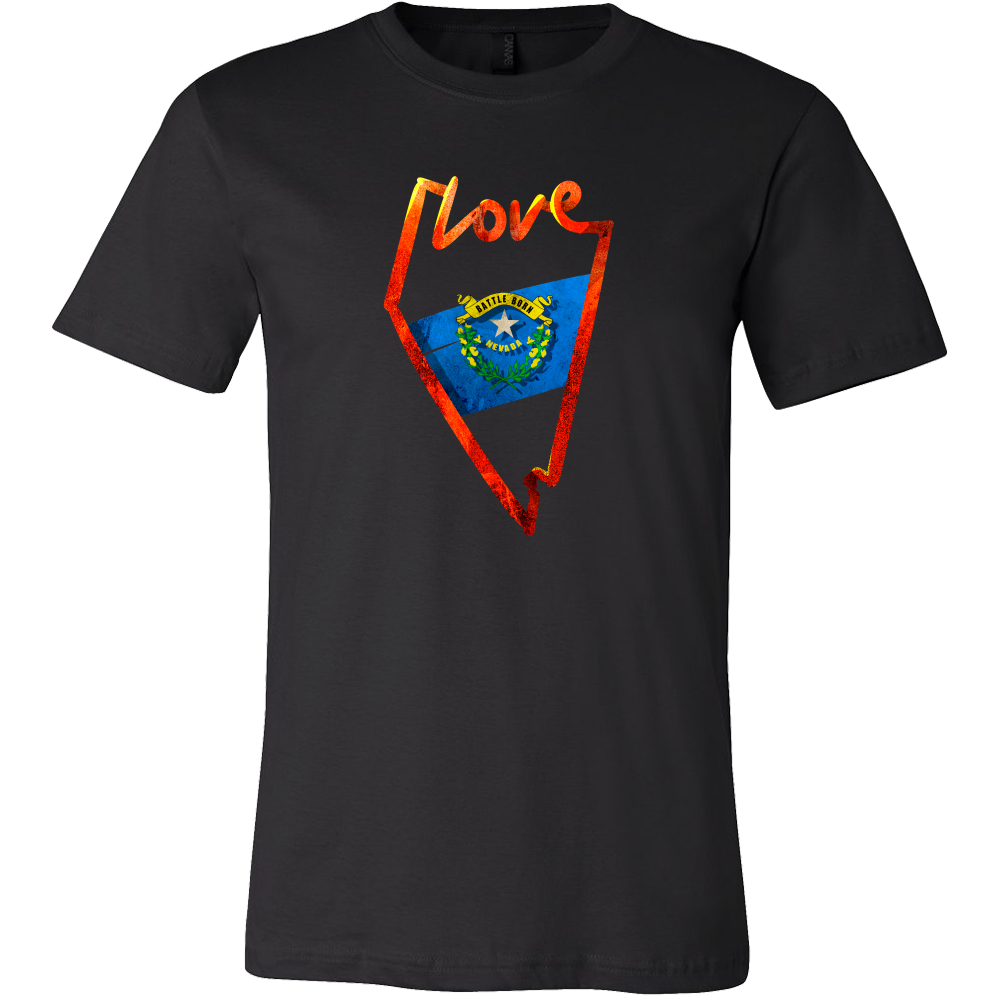 Love Nevada State Flag Map Outline Souvenir Gift T-shirt