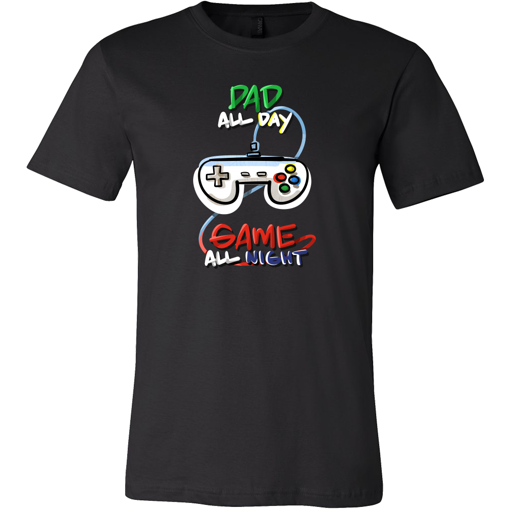 Dad All Day Game All Night Funny Gamer Fathers T-Shirt