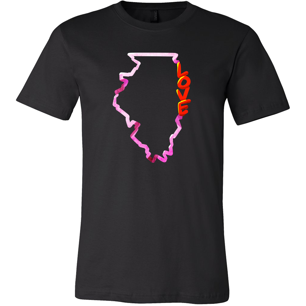 Love Illinois State Flag Map Outline Souvenir Gift T-shirt