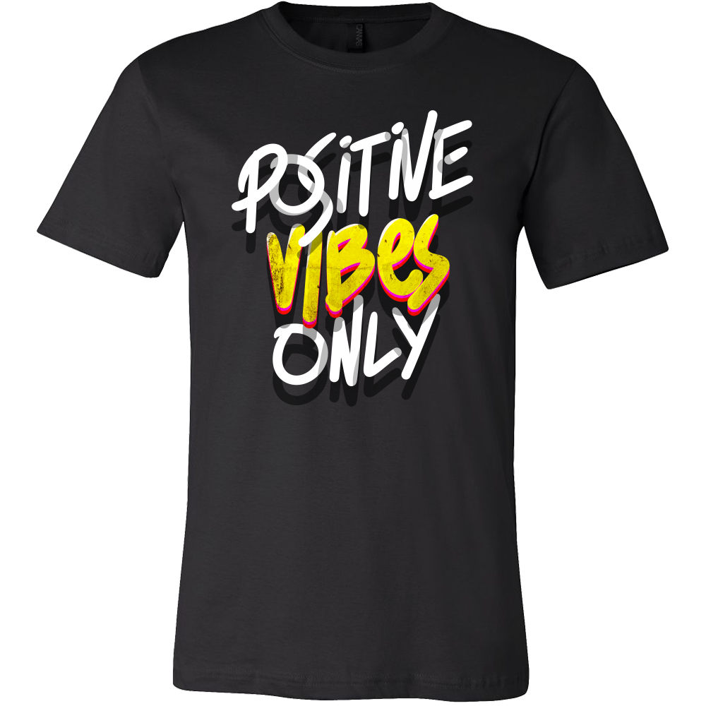 Be Positive Good Vibes Novelty Stamped Shirt