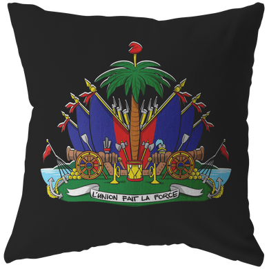Haiti Haitian Pride Flag Coat of Arms Emblem Country Pillow