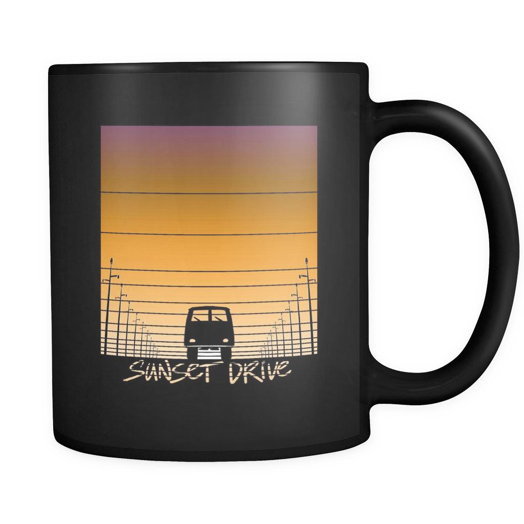 Sunset Mug - 'Sunset Drive' Image on black ceramic 11oz mug
