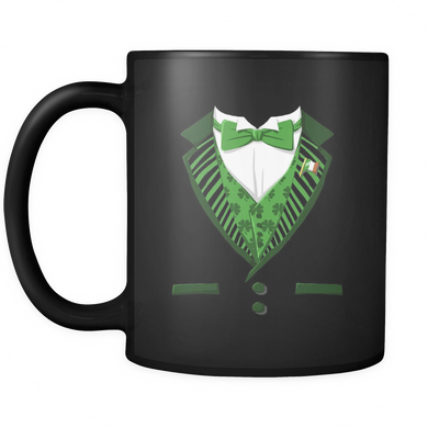 Funny Irish Mugs - Green Costume For St Patricks Day Stamped on Black Ceramic Mug