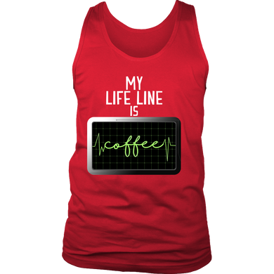 Funny Men's Tank - My Life Line is Coffee quote design