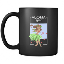 Hawaiian Hula Girl Vintage Hawaii Tropical Aloha Black Mug 11oz