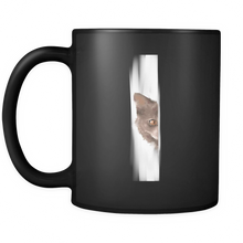 Funny Animal Mugs - Peeking Wolf Design on Black Ceramic 11 oz Mug