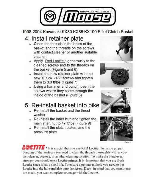 Instructions on how to install a Moose Racing billet clutch basket on a KX85 KX100| Moto-House MX