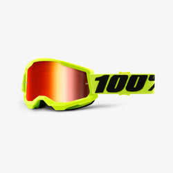 100% Strata 2 Goggles Yellow - Red Mirror Lens - Adult - 50421-251-04