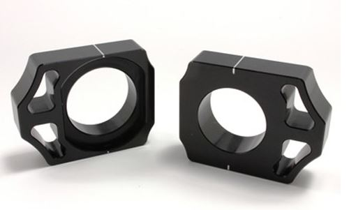 Works Connection Axle Blocks - Black KX125/KX250/KXF250F/KX450F/RMZ250/RMZ450