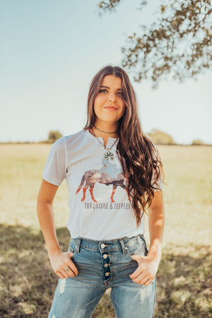Turquoise & Teepees Shirt