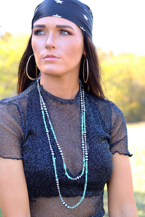 "30"" + 36"" Turquoise & Navajo Pearl Necklace"