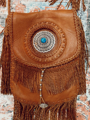 Handmade Leather + Kingman Turquoise Purse