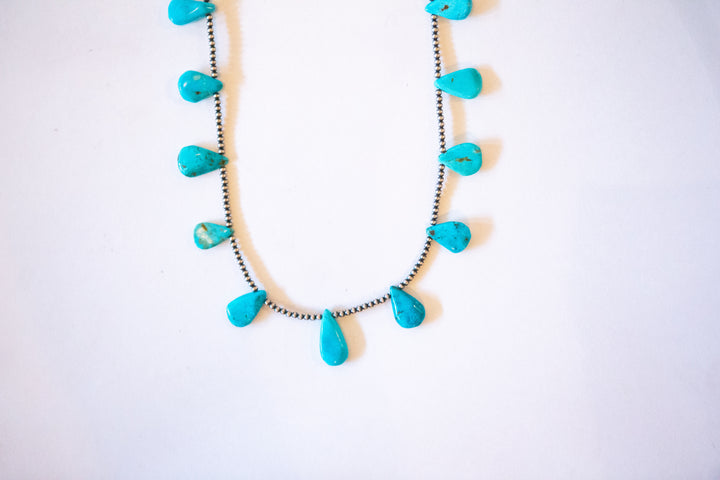 "24"" Turquoise + Navajo Pearl Necklace"