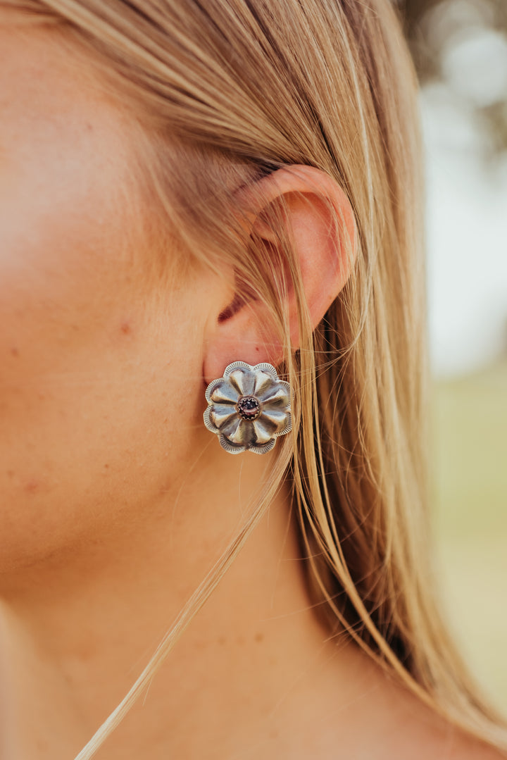 The Erin Earrings with purple spiny oyster