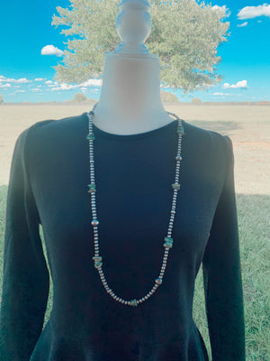 "36"" turquoise + Navajo pearl necklace"