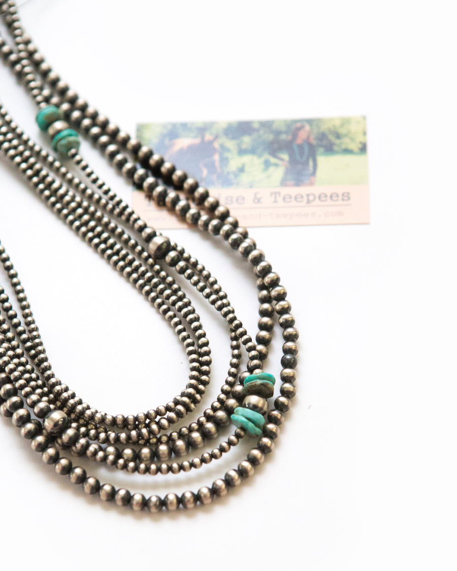 "44"" Kingman turquoise and Navajo Pearl necklace"