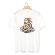 camiseta algodón orgánico - Venus Sloth color white