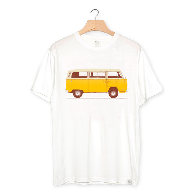 camiseta algodón orgánico - Yellow Van color white