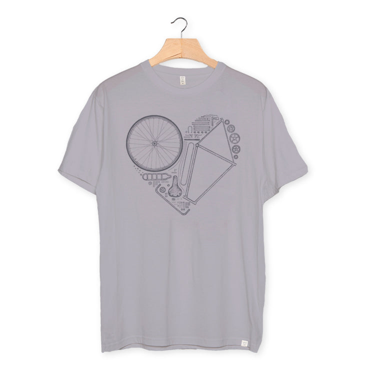 camiseta algodón orgánico - Love Bike color lava grey