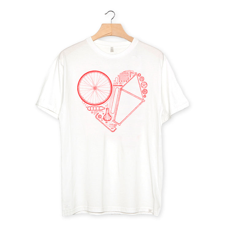 camiseta algodón orgánico - Love Bike color white