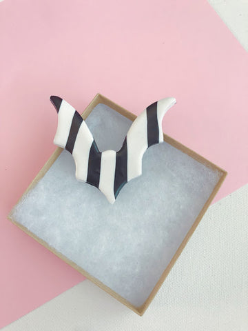 Bat Hair Clip, Striped